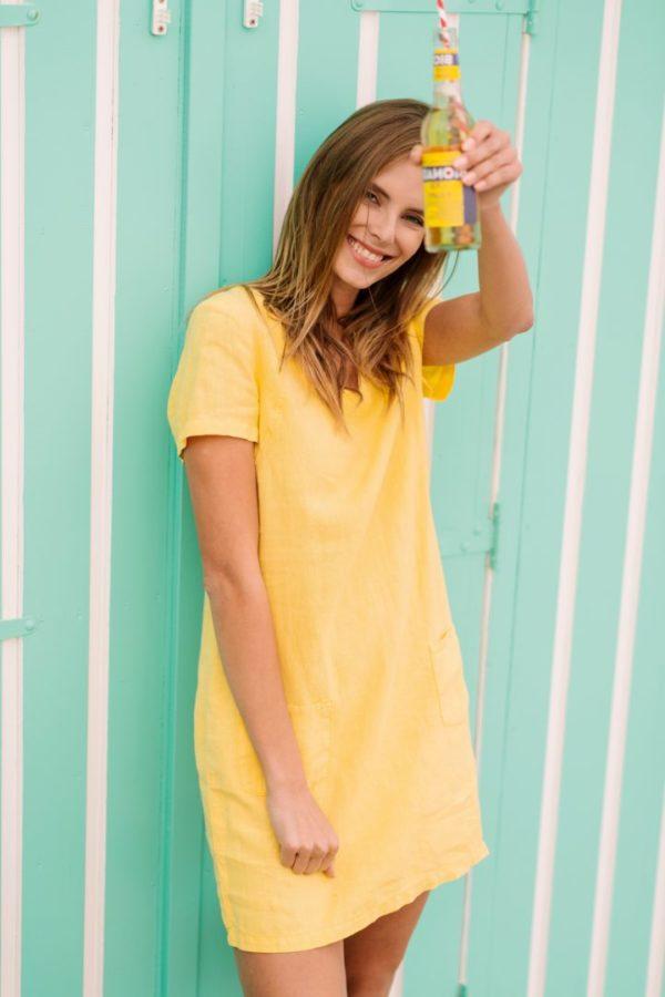robe lin jaune signe nature - Robe lin jaune Signe nature